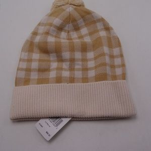 Coach New Caramel Plaid Pom Hat O/S